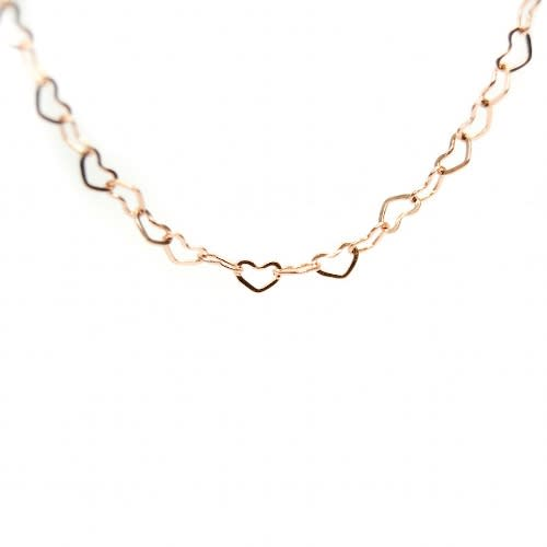 Rose Gold Open Heart Chain - 74cm (Oval Lockets)