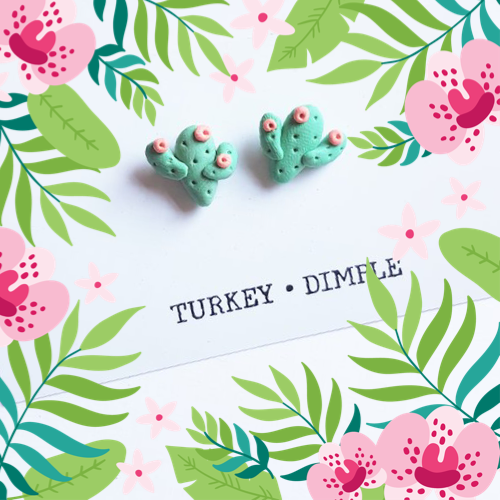 Cactus Stud Earrings by Turkey•Dimple