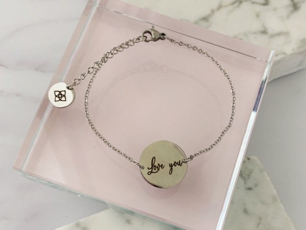"""Love You"" Dainty Petite Bracelet Silver"