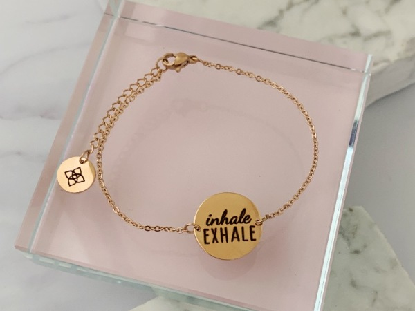 """Inhale, Exhale"" Dainty Petite Bracelet Rose gold"