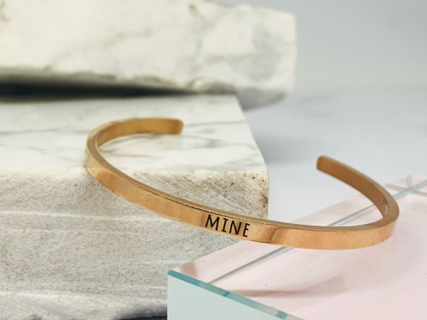 "Rose Gold Samsara Bracelet ""MINE"""