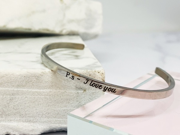 "Silver Samsara Bracelet "" P.s - I love you"""