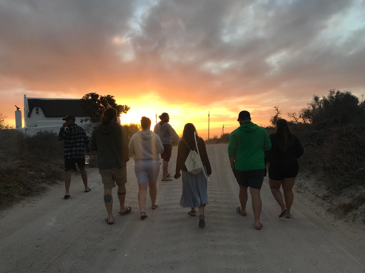 walking into the sunset