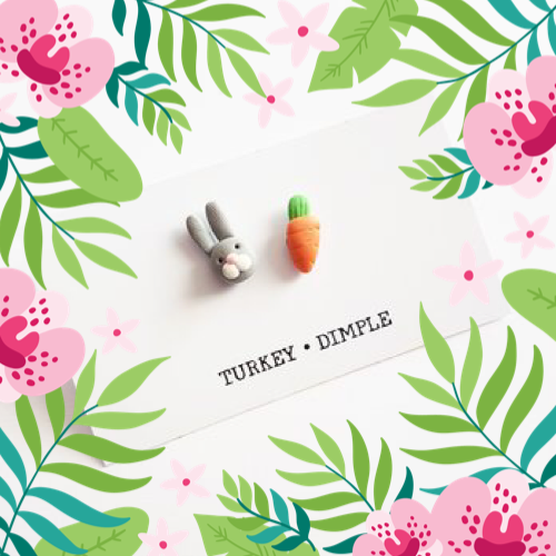 Bunny & Carrot Mismatched Earrings by Turkey•Dimple