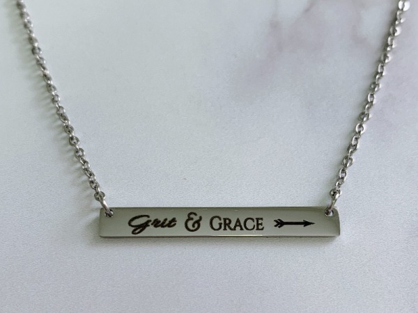 """Grit&Grace"" Horizontal Bar Silver Necklace"