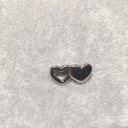 EmBrace Slide-On Charm: Silver Double Heart