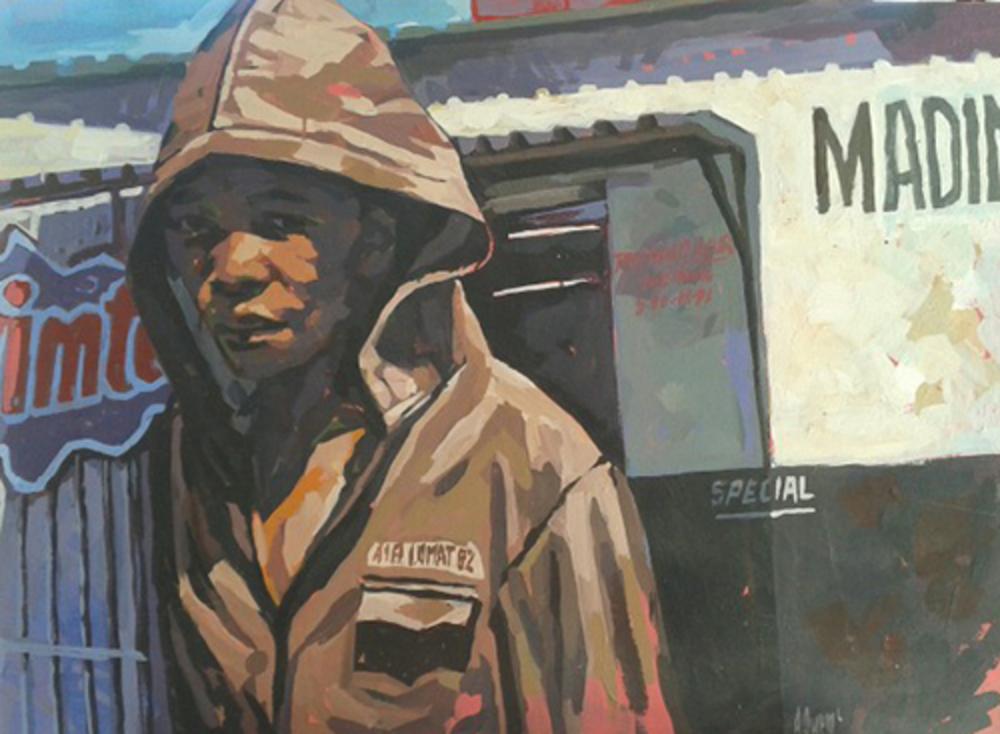 Boy in a hooded jacket