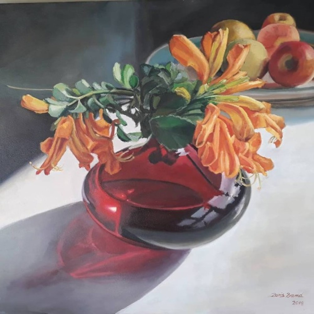 Red vase with Cape honeysuckle