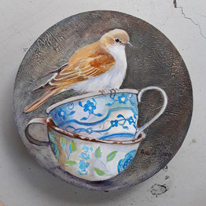 bird and tea cups