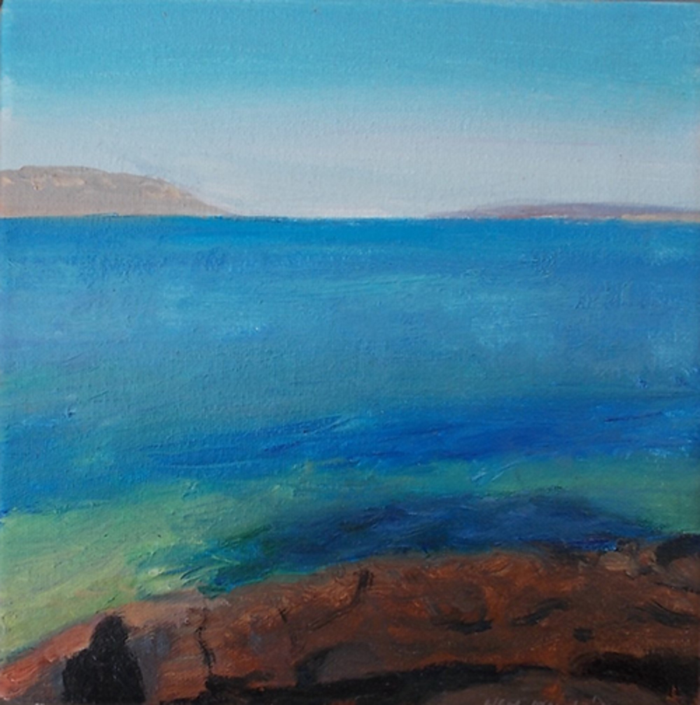 View from Roben Island with freize of men' oil, 20cm x 20cm, R 6000