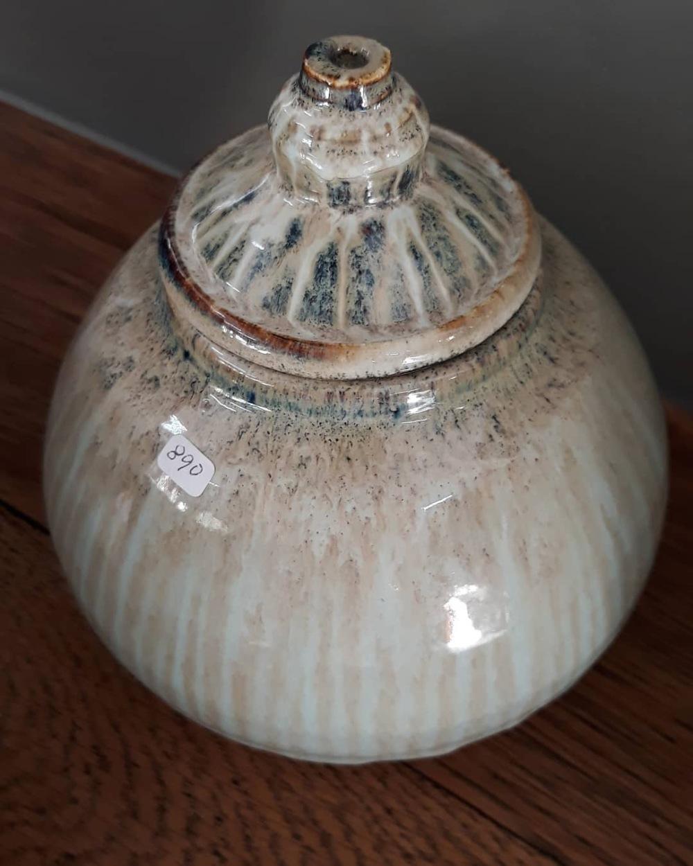 Cut glaze storage jar