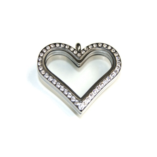Silver Crystal Heart Locket