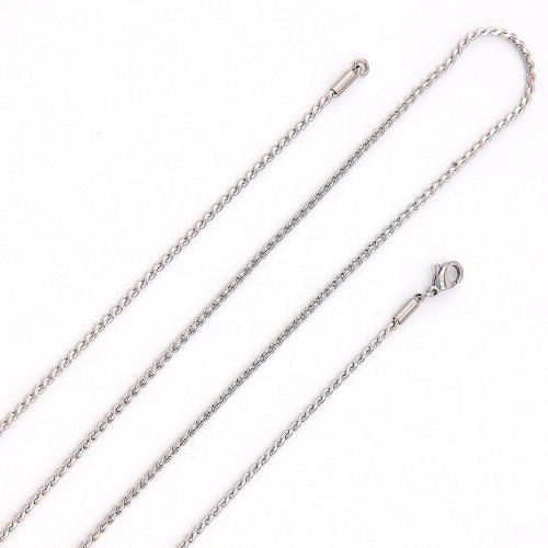 Long Twisted Rope Chain (Silver)