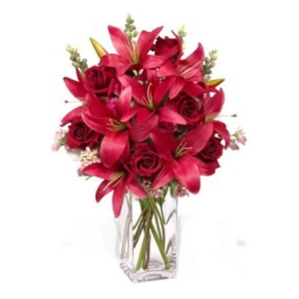 Blushing Red Roses & Lilies