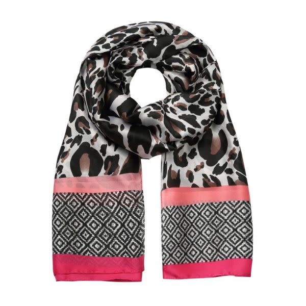 Scarf Silky Leopard and Pink Geometric