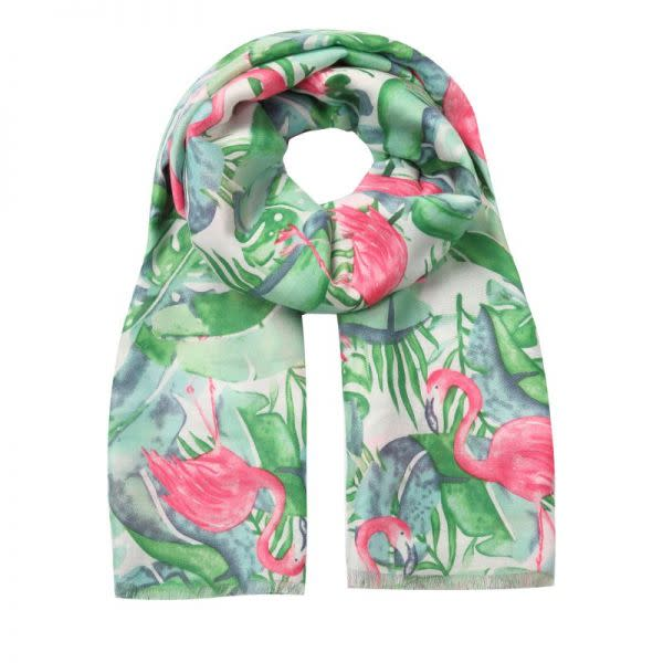 Scarf G/Pink Tropical Leaves & Flamingo
