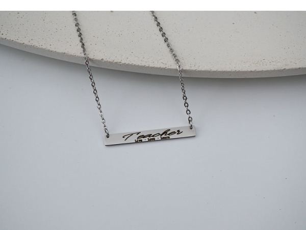 Teacher, live, love, learn - Horizontal Necklace