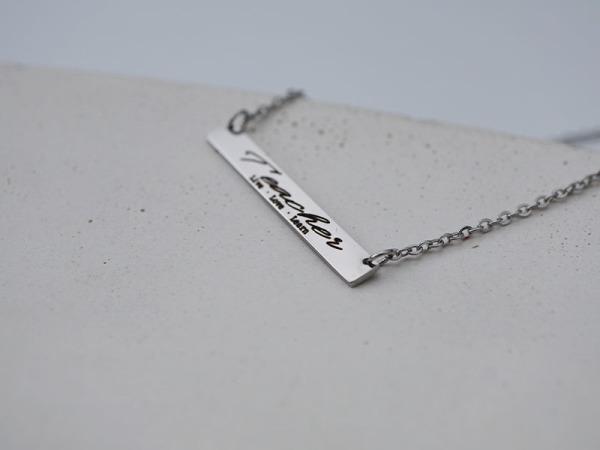 Teacher, live, love, learn - Horizontal Necklace