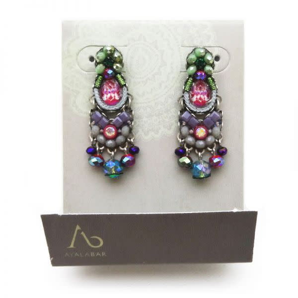 Ayala Bar - Purple and Green Coloured Stone earrings