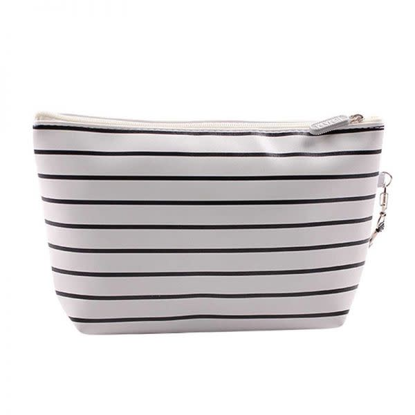 Cosmetic Bag - Black and White Striped