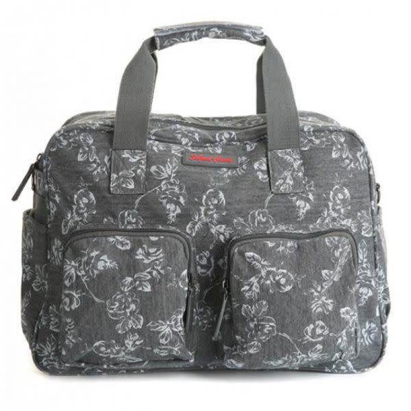 Grey with white floral design Baby Bag