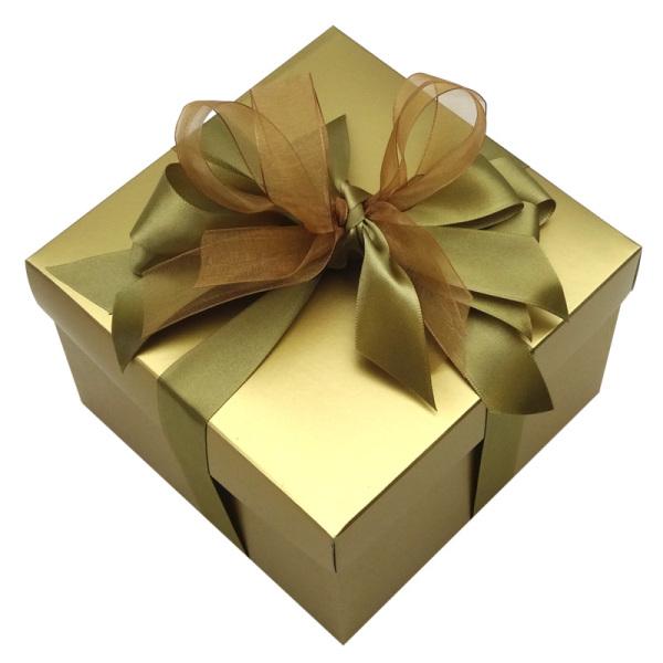 small square cardboard box - gold