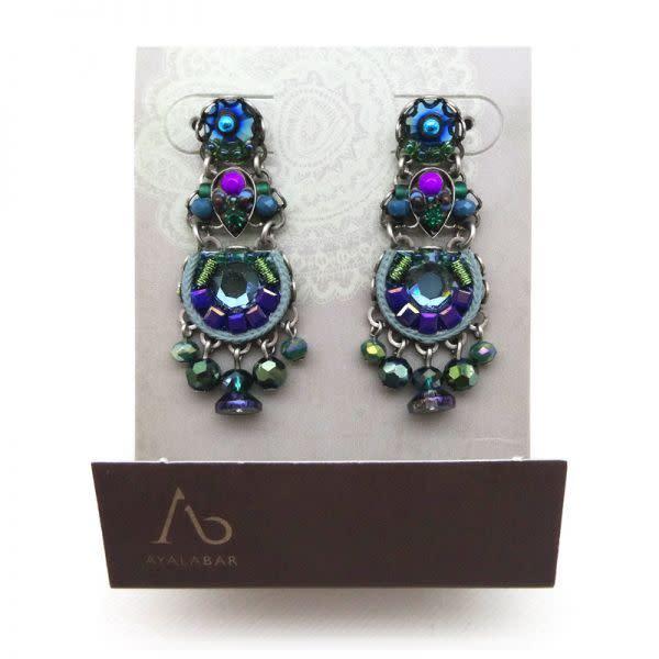Ayala Bar - Purple, Blue and Green Coloured Stone earrings