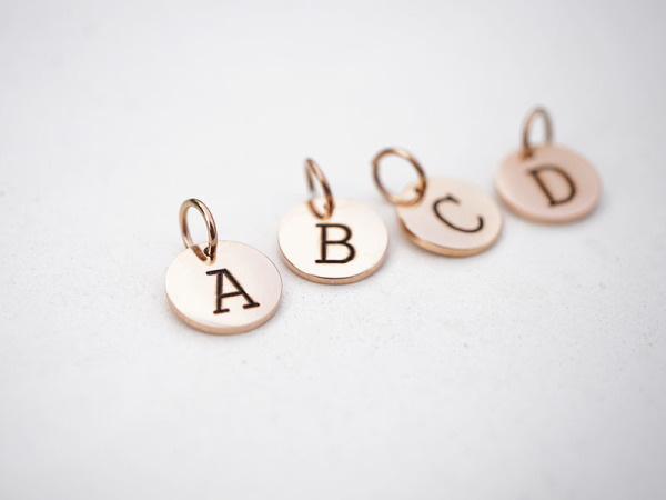 Initials Type Font - 10mm Rose Gold Petite