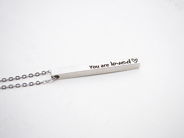 You are loved _ Vertical Bar Necklace
