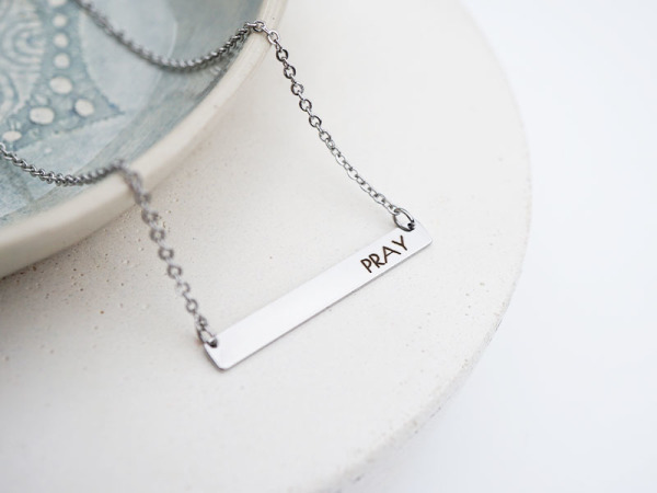 """Pray"" Horizontal Bar Necklace"