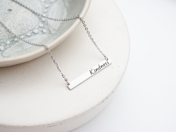 """Kindness"" Horizontal Bar Necklace"
