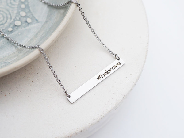 #Bebrave Horizontal Bar Necklace