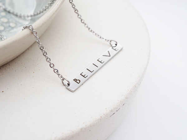 """Believe"" Horizontal Bar Necklace"
