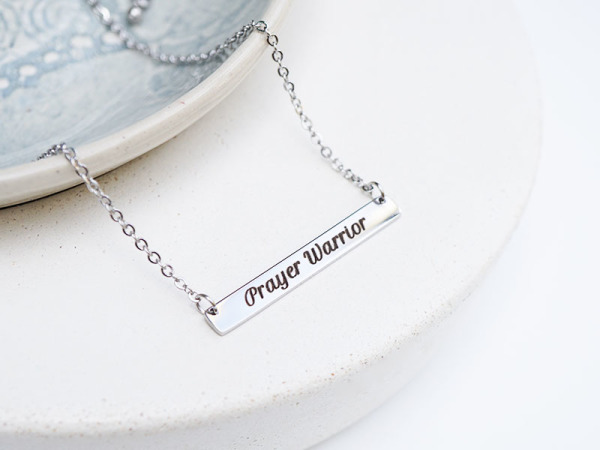 """Prayer Warrior"" Horizontal Bar Necklace"