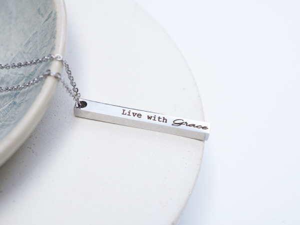 """""""Live With Love"""" Vertical Bar Necklace"""