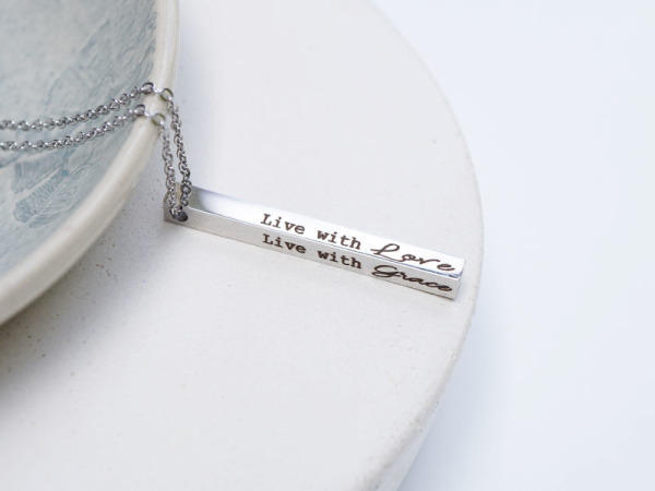 """Live With Love"" Vertical Bar Necklace"