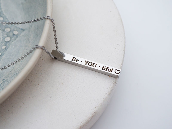 """Be-You-tiful"" Vertical Bar Necklace"