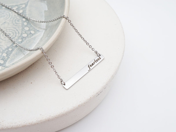 """Fearless"" Horizontal Bar Necklace"