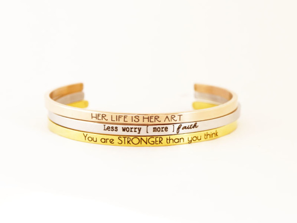 """Less worry. More Faith"" Bracelet Stack"