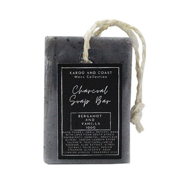 Karoo & Coast Mens Soap on a Rope (Charcoal)