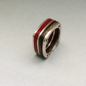 Red silver and wood ring