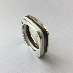 White square silver and wood ring