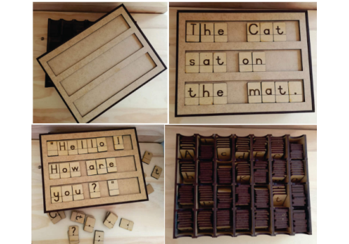 BOX SPELLING AID WITH COMPARTMENTS English AND Afrikaans