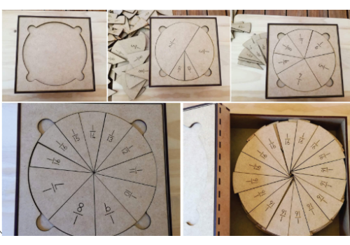 WOODEN BOX CIRCLE FRACTIONS WITH COMP