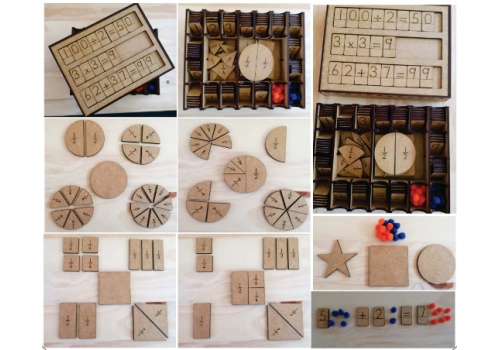 WOODEN BOX MATHS AID WITH COMP