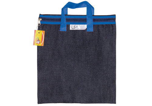 LIBRARY BOOK BAG DENIM WITH ZIP ASS