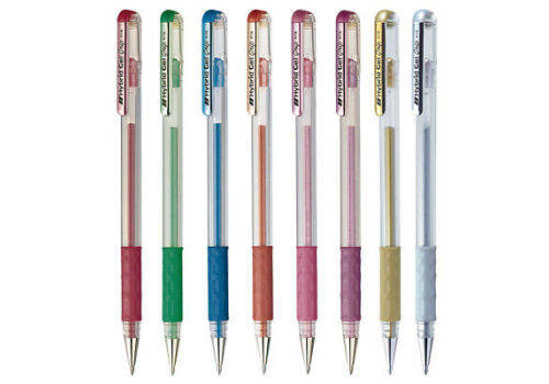 PEN PENTEL HYBRID 0.8 GEL PACK 8 METALIC