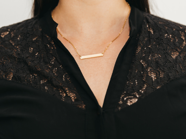 Horizontal Bar Necklace - Yellow Gold