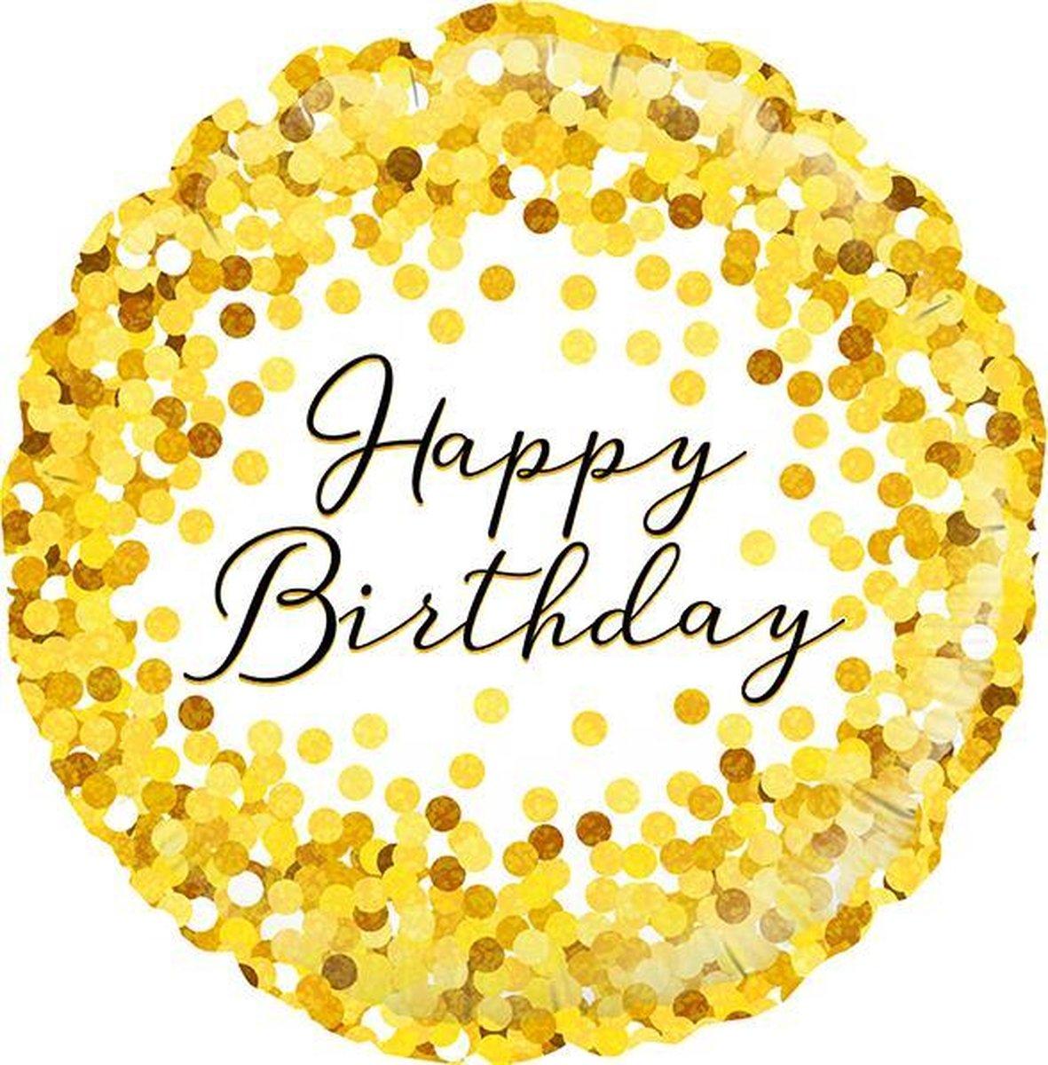Gold Confetti Happy Birthday Foil Balloon 18 inch