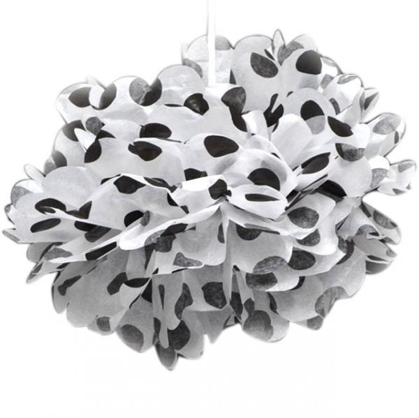 Black Dotted Tissue Paper Pom Poms (20cm)
